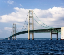 Mackinac Bridge from Bridge Authority boat July 25th 2008