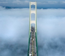 Mackinac Bridge shot from the South Tower, looking at the North Tower in the direction
