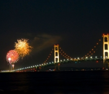 Mackinac Bridge 50th Anniversary Fireworks over the straits