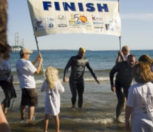 Swimmers in the Straits of Mackinac during the Labor Day Bridge Walk