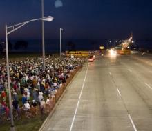 People waiting to walk across the Bridge for the 2008 Mackinac Bridge Labor Day Walk