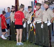 Governor Granhol greets walkers before the 2008 Mackinac Bridge Labor Day Run/ Walk