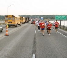 Governor Granholm and others running the 2008 Mackinac Bridge Labor Day Run