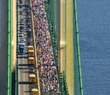 View from the top of the south tower during the 2008 Mackinac Bridge Labor Day Walk
