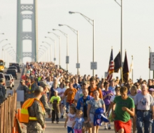 Walkers finishing the 2008 Mackinac Bridge Labor Day Walk