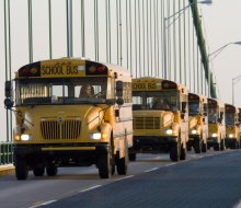 Buses headed to Mackinaw City to pick up walkers for the 2008 Mackinac Bridge Labor Day Walk