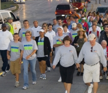 2009 Mackinac Bridge Labor Day Walk.  Gov. Granholm walking the Mackinac Bridge.