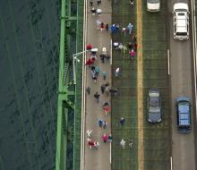 2010 Mackinac Bridge Walk in honor of Larry Rubin.