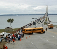 Empty buses returning to Mackinaw City