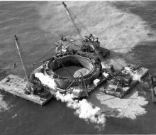 Caisson dredging - October 29, 1954