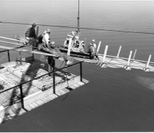 Catwalk construction - June 6, 1956