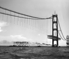 Truss delivery by barge - June 20, 1957