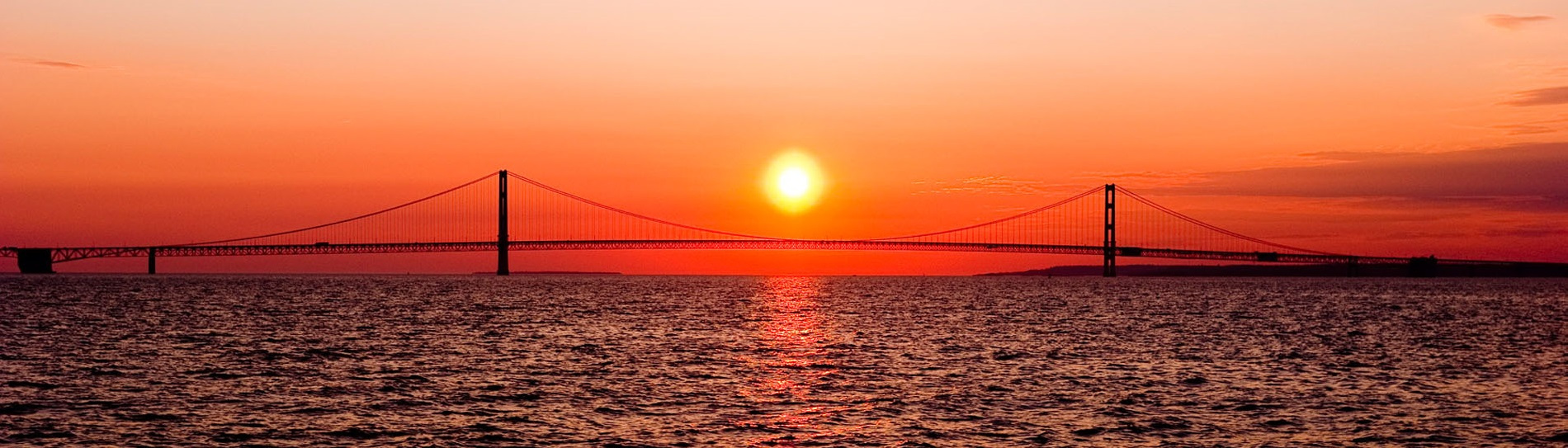 Mackinac Bridge, Sunset, Scenic Image