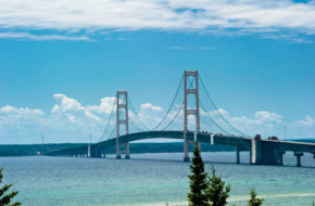 In spring, traffic on the Mackinac Bridge begins to increase as tourists head north to the Upper Peninsula to see the Soo Locks, Pictured Rocks National Lakeshore, and Michigan state parks. (MDOT photo)