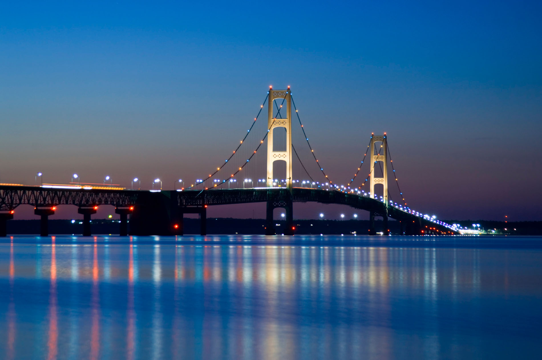 Mackinac Bridge at night June 2006
