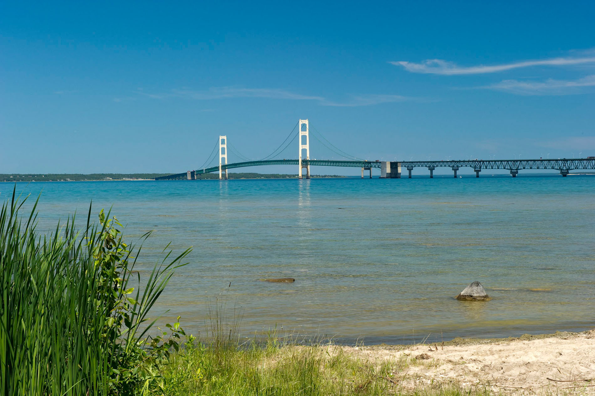 Mackinac Bridge from Mackinaw City.